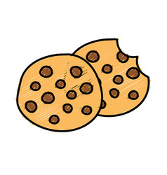 Delicious fresh cookies bakery snack vector
