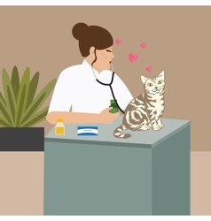 Doctor cat veterinarian nurse examining vector