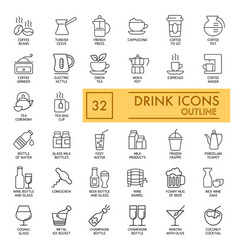 Drinks icons set simple flat vector