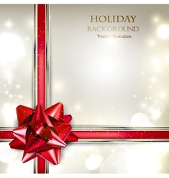 Elegant Holiday background with red bow and place vector