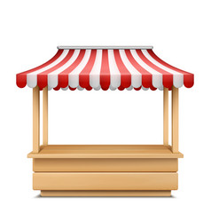 Empty market stall with striped awning vector