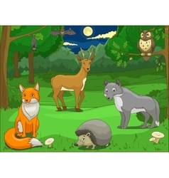 Forest with cartoon animals educational game vector image