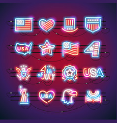 Fourth july neon signs vector