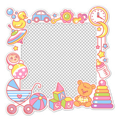 frame with baobjects toys accessories vector image