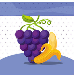 fruits fresh organic healthy grapes banana vector image
