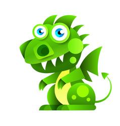 funny cartoon little green sitting dragon vector image