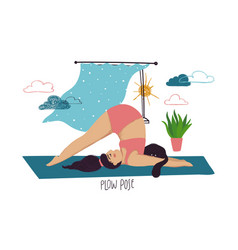 Girl doing plow yoga pose with cat vector