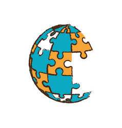 Globe puzzle pieces image vector