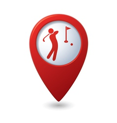 Golf icon red map pointer vector