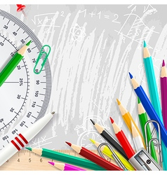 Grey chalk background with school supplies vector