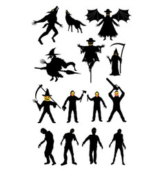 halloween monster zombie serial killer set vector image