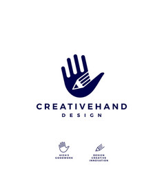 Hand pencil logo icon vector