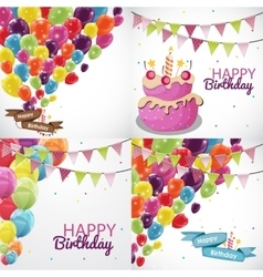 Happy Birthday Card Template with Balloons and vector