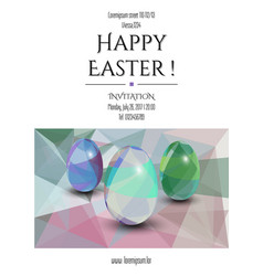 happy easte invitation card 3d easter eggs with vector image
