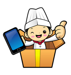 Head cook character is in big box isolated on vector