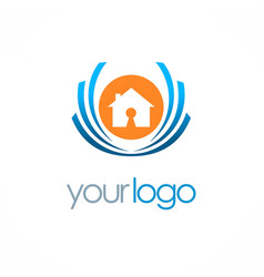 Home secure emblem logo vector