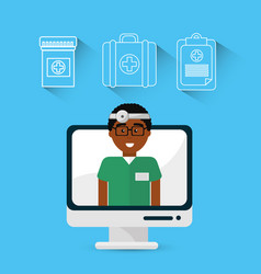 Hospital doctor computer icon vector