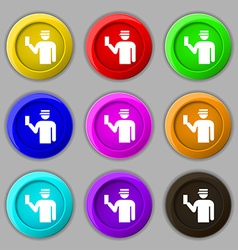 Inspector icon sign symbol on nine round colourful vector