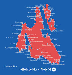 Island of cephalonia in greece red map vector