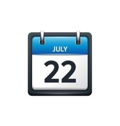 July 22 calendar icon flat vector