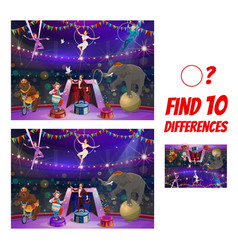 kids game with circus performers ten differences vector image