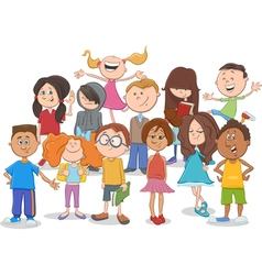 kids or teens group cartoon vector image