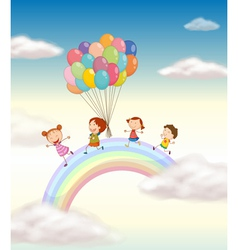 Kids Over the Rainbow vector image
