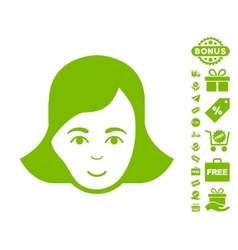 Lady Face Icon With Free Bonus vector