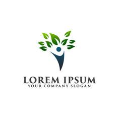 leaf people logo design concept template vector image