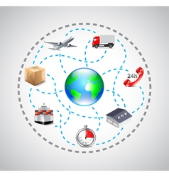 Logistics icons in sphere connected with dotted vector image