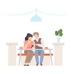 man with a woman at a table in a cafe vector image