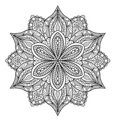 mandala black oriental decorative flower pattern vector image
