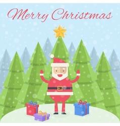 merry christmas christmas card santa claus vector image
