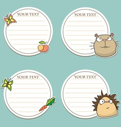 Message stickers with funny animals vector