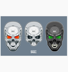 Metal skull with futuristic and mechanical design vector