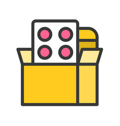 Painkiller medicine in box filled outline icon vector
