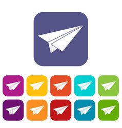 Paper airplane icons set flat vector
