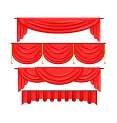Pelmet red curtains set for theatre interior vector