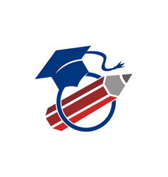 pencil with graduation cap vector image