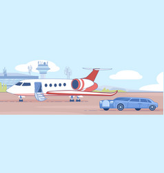 personal business jet on airport runaway vector image