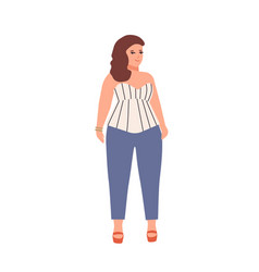 pretty body positive woman flat vector image