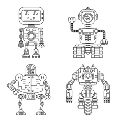 Robots linear style set vector image