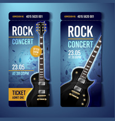 rock festival ticket design template with guitar vector image