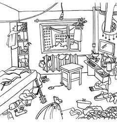 Room with clutter and haos vector