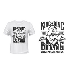 Rooster print t-shirt mockup boxing fight club vector
