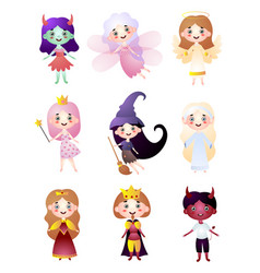 set kids character in different holiday costume vector image