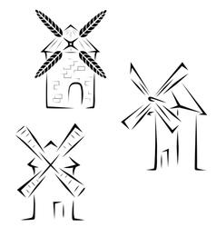 Set mills logos vector image