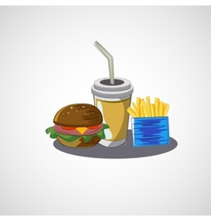 set of fast food drink burger fries vector image