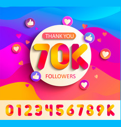 set of numbers for thanks follower template design vector image
