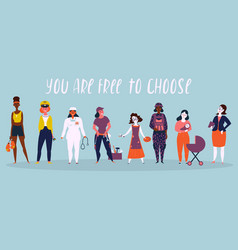 Set of women professions you are free to choose vector